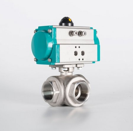 Top Flanged Three Way Stainless Steel Ball Valve